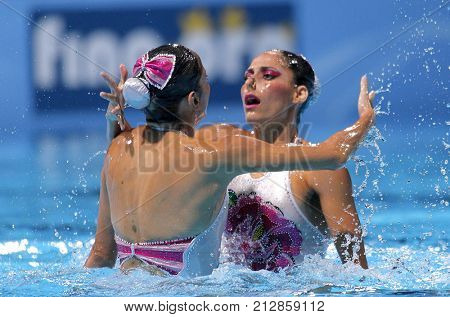 BARCELONA, SPAIN - JULY, 13: Isabel Delgado and Nuria Diosdado of Mexico during a Duet Synchronised Swimming event of World Championship BCN2013 on July 13, 2013 in Barcelona Spain