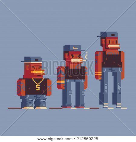 gangsta rap stars characters, pixel art style vector illustration set