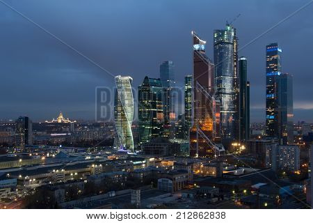 MOSCOW - APR 23, 2016: Moscow International Business Center at night. Investments in Moscow International Business Center was approximately 12 billion dollars