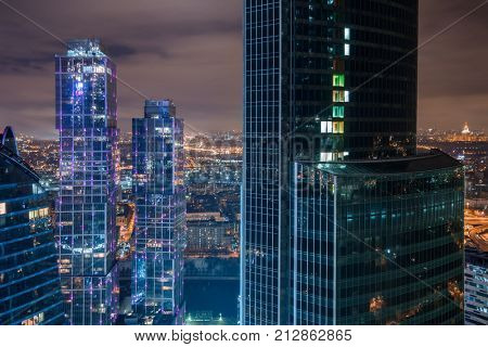 MOSCOW - DEC 15, 2013: Part of Moscow International Business Center at night. Years of construction of complex - 1995-2018
