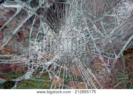 glass texture with cracks on broken glass