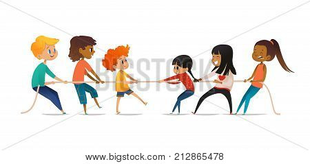 Tug of war contest between boys and girls. Two groups of children of different sex pulling opposite ends of rope. Concept of gender equality among kids, team sports. Vector illustration for banner
