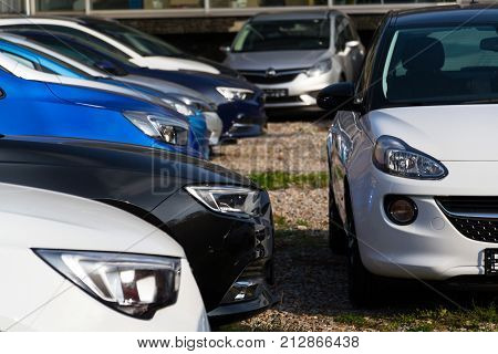 Prague, Czech Republic - November 5: Opel Cars In Front Of Dealership Building On November 5, 2017 I
