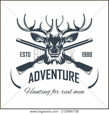 Hunting club or hunt adventure logo template. Vector isolated icon of wild elk antlers and hunter crossed rifle gun for animal hunting open season badge or deer and elk trophy