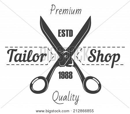 Tailor shop or dressmaker atelier and fashion dress tailoring designer salon vector logo template. Vector retro icon of sewing tailor scissors and thread stitch