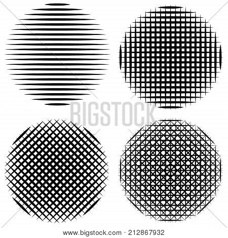 set vertical, horizontal, diagonal stripes in circle calligraphy brush vector sun mandala for comics and manga, intersecting stripes, in a circle, the halftone pattern effect of refraction