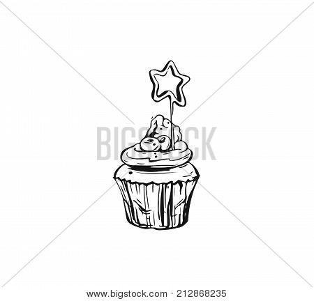 Hand drawn vector abstract graphic icon design element with ink brush painted illustration of holiday cupcake isolated on white background.