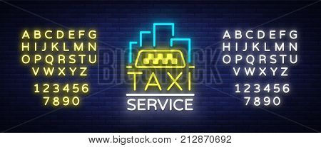 Vector Neon Taxi logo isolated on a brick background. Silhouette badge glowing taxi. Design advertising night sign of the taxi brand. Editing text neon sign. Neon alphabet.