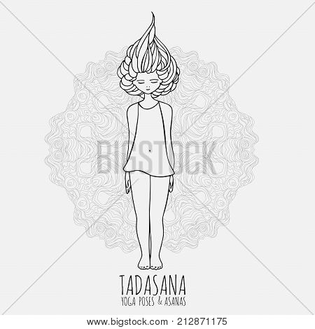 Lovely girl doing yoga. Yoga poses and asanas in hand-drawn style. Woman doing yoga exercises. Yoga and relaxation, doodle vector illustration isolated on white background, with east mandala behind.