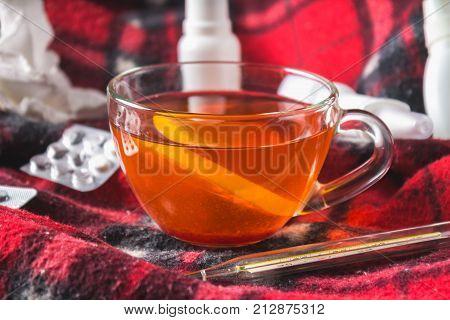 Drugs For Colds - Pills, Spray. Folk Remedies - Lemon, Tea, Raspberry Jam. Thermometer, Handkerchief