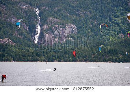 kitesurfers riding on the Howe Sound at Squamish
