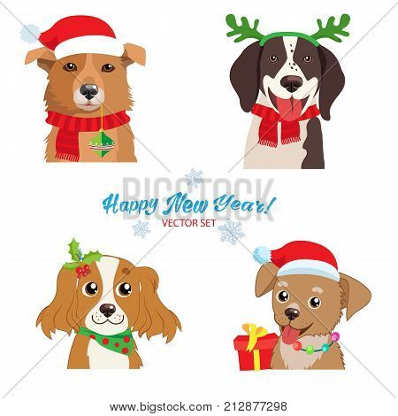Christmas Dog Faces Collection Vector Set. Symbol Of The Year. Illustration Of Funny Cartoon Dogs In Christmas Costumes. Isolated On White. Holiday Collars And Outfits.