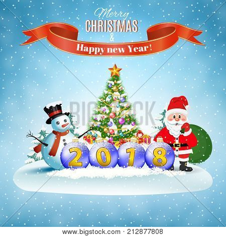 New year and Christmas winter landscape background with Santa Claus with gift bag and snowman and balls and Christmas tree. 2018 Vector illustration