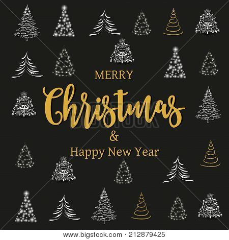 Merry Christmas and Happy New Year lettering design. We wish you Merry Christmas and Happy New Year text for greeting card holiday design, vector illustration.