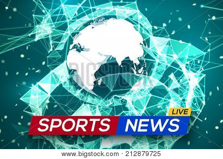 Sports News Live with World Map Africa and Europe on Green Structure Background. Business Technology News Background with Earth Planet. Abstract Geometric Network with Particles. Vector Illustration.