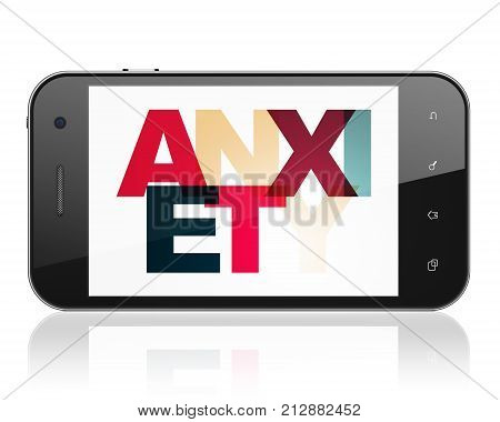 Health concept: Smartphone with Painted multicolor text Anxiety on display, 3D rendering