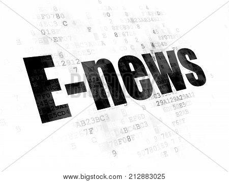 News concept: Pixelated black text E-news on Digital background