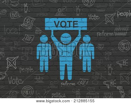 Politics concept: Painted blue Election Campaign icon on Black Brick wall background with  Hand Drawn Politics Icons
