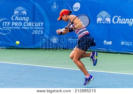 BANGKOK OCTOBER 21 : Mizuno Kijima of Japan action in CHANG ITF PRO CIRCUIT 2015 at Rama Gardens Hotel on October 21 2015 in Bangkok Thailand. she loss in this match