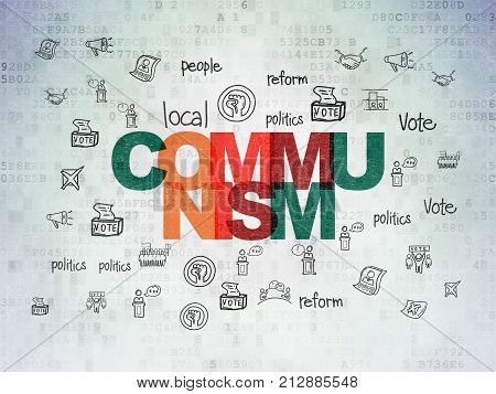 Political concept: Painted multicolor text Communism on Digital Data Paper background with  Hand Drawn Politics Icons