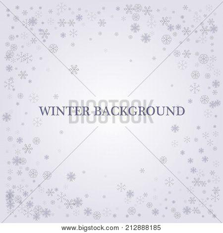 Winter silver background. Fallen defocused snowflakes. Christmas. Vector snowy background