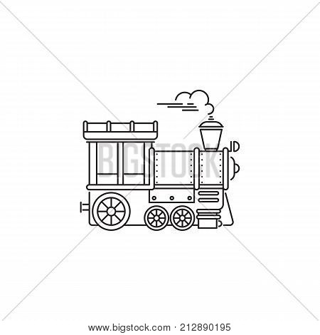 Park train locomotive icon vector linear design isolated on white background. Park logo template, element for amusement park, line icon object.