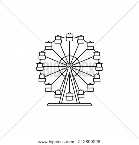 . Ferris wheel icon vector linear design isolated on white background. Park logo template, element for amusement park, line icon object.