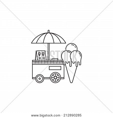 Ice cream cone and cart icon vector linear design isolated on white background. Park logo template, element for amusement park, line icon object.