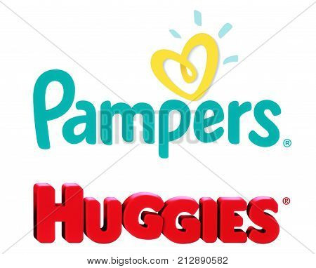 Kiev Ukraine - October 27 2017: Collection of popular baby diapers brands: Pampers and Huggies printed on white paper