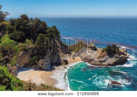 Beach and Falls, Julia Pfeiffer Beach, McWay Falls, Big Sur, California