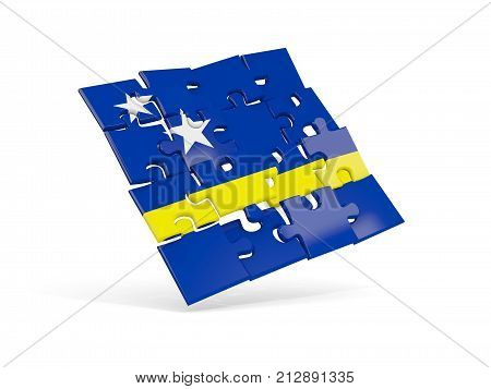 Puzzle Flag Of Curacao Isolated On White