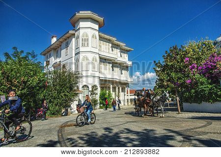 ISTANBUL, TURKEY: View of Prince Islands Buyukada.There are beautiful streets and old wooden houses. Phaeton and bicyle tour is famous and people visit there for holiday, on October 9, 2017