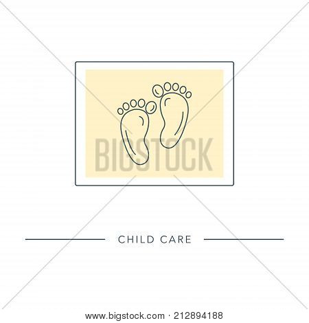 Baby foot Icon. Stylized outline symbol of maternity, motherhood, childbearing. Vector illustration.