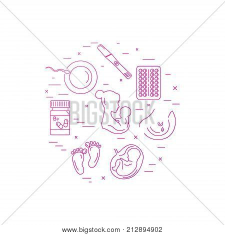 Pregnancy and childbirth. Obstetrics and gynecology vector line icons. Preparing a woman for pregnancy and labor. Health medical and care newborn. Maternity and child care.