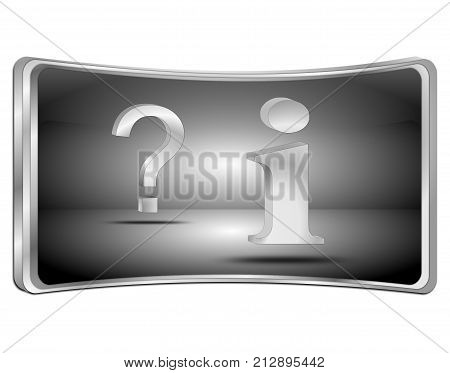 silver information and question button - 3D illustration