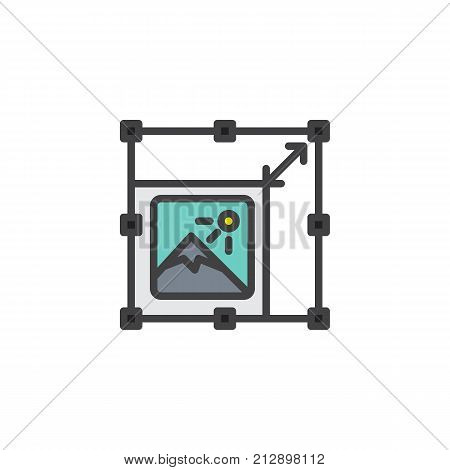 Resize picture filled outline icon, line vector sign, linear colorful pictogram isolated on white. Symbol, logo illustration. Pixel perfect vector graphics