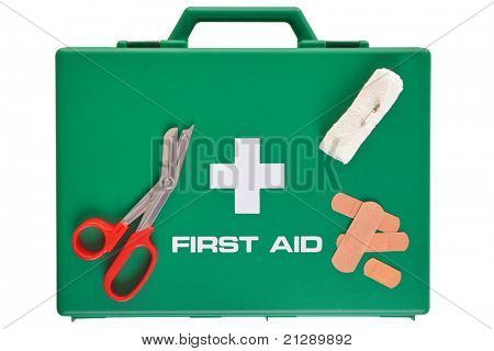 Photo of a first aid kit isolated on a white background with clipping path.