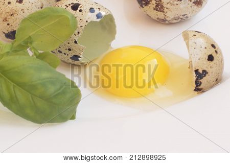 Quail eggs, dietary product, healthy food, broken quail egg