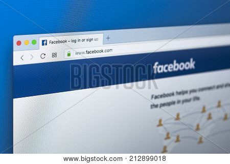 Sankt-Petersburg Russia November 9 2017: Facebook homepage one of the biggest social network website. Homepage of Facebook.com on Apple iMac monitor screen