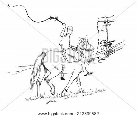 A young guy rider riding a horse rides past a cliff with a whip in his hands, vector sketch illustration hand drawn