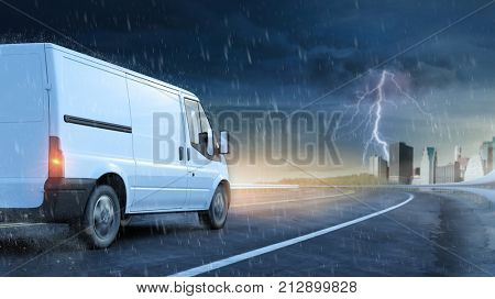 Delivery van driving under thunderstorm with rain and lightning (3D Rendering)