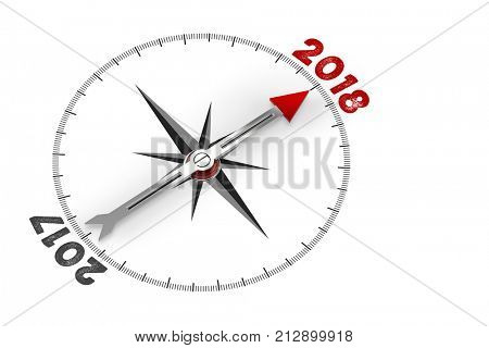 Change in new year 2018 with compass and arrow (3D Rendering)
