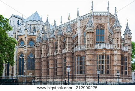Westminster Abbey, London, England, rear side with gothic architecture