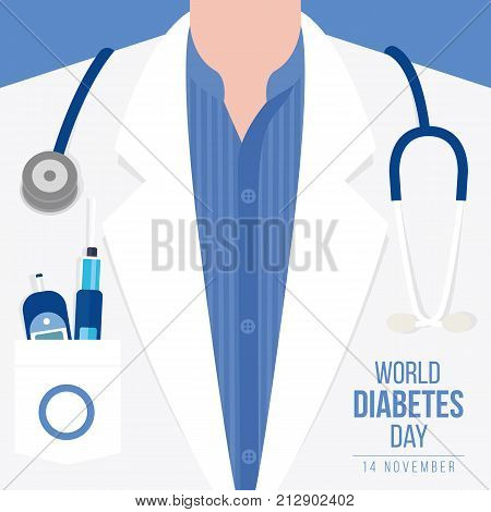 World Diabetes Day Awareness with meter measures for blood sugar level and stethoscope on Doctor's gown vector illustration design