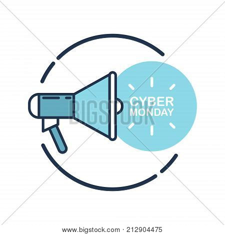 Cyber Monday promotional flat design vector illustration with megaphone for business, commerce and advertising.