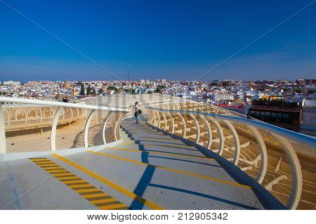 Seville Spain - November 192016: Metropol Parasol is the modern architecture on Plaza de la Encarnacion.It was designed by the German architect Jurgen Mayer-Hermann.