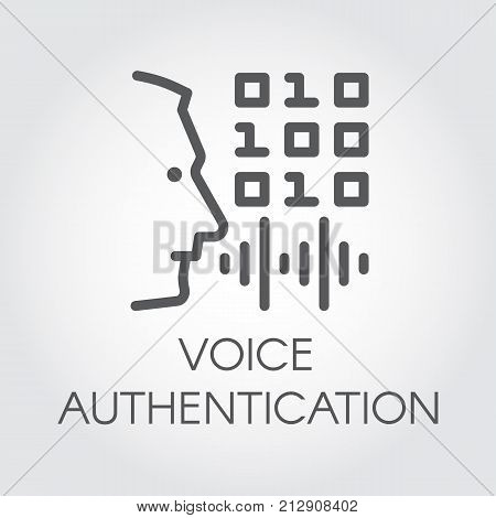 Voice authentication outline icon. Profile of man head, soundwave and code control. Technology of sound identification in mobile phones, smartphones and other devices. Security innovation system logo