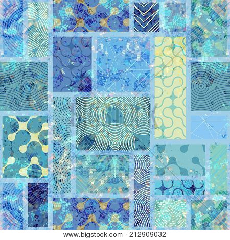 Seamless background. Lignt blue vintage pattern of rectangles in scrapbook style.