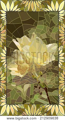Vector mosaic with yellow iris in vertical stained-glass window frame.