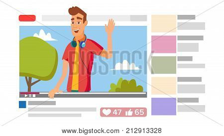 Boy Leading Online Stream Channel. Online Internet Streaming Video Concept. Cartoon Flat